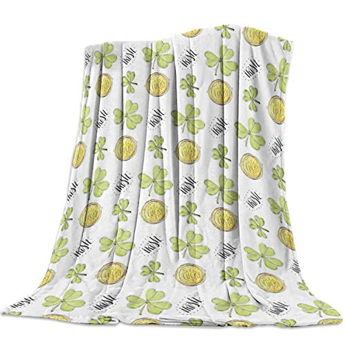 """Singingin Lucky Gold Coin and Shamrocks Flannel Throw Blanket Super Soft Warm Snuggle Stadium Blanket for Couch Chair Sofa and Bed Everyday Use 50"""" x 60"""""""