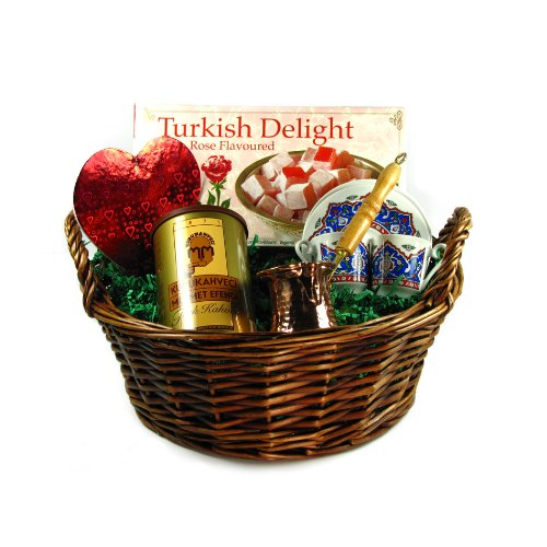Valentine's Day Gift Basket with Turkish Coffee Set for Two