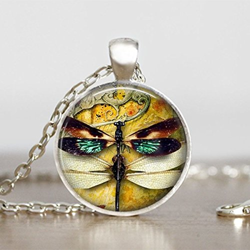 Dragonfly Pendant Steampunk Necklace Round Handmade Jewelry Sooty Christmas Party