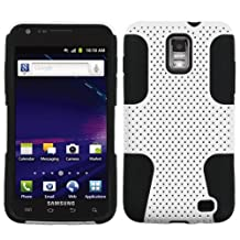 Bastex Hybrid Mesh Design White/Black Snap On Protector Case for Samsung Galaxy S II / S2 Skyrocket (AT&T Model SGH-i727 Only) + 4.5 Inches Lens/Screen Cleaning Cloth
