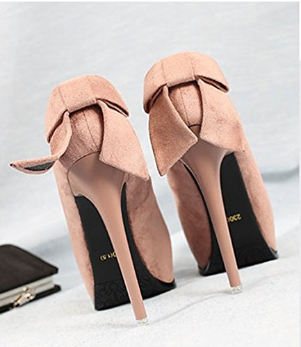 Waterproof Shoes Heel Bow Pink Mouth Night Platform Back Elegant Spring Store Lady MDRW Heels High 13Cm Single Work Shallow Thin Suede Sexy 37 Leisure 7Xff4q