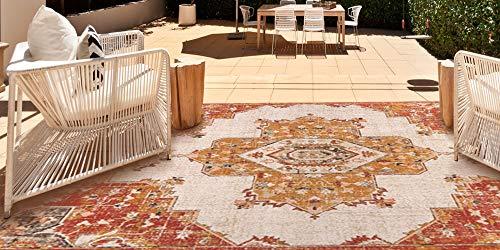 Garden and Outdoor Gertmenian 22143 Bohemian Outdoor Rug Distressed Patio Outside Boho Carpet, 6×9 Medium, Nain Classic Center Medallion… outdoor rugs