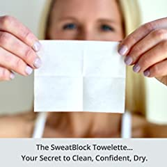 SweatBlock Underarm Wipes for Sweat Control  Dab on a SweatBlock antiperspirant wipe and control excessive sweating for up to 7 days* per use... So you can confidently raise your arms.  Like a crack in a mirror, pit sweat is impossible to ign...