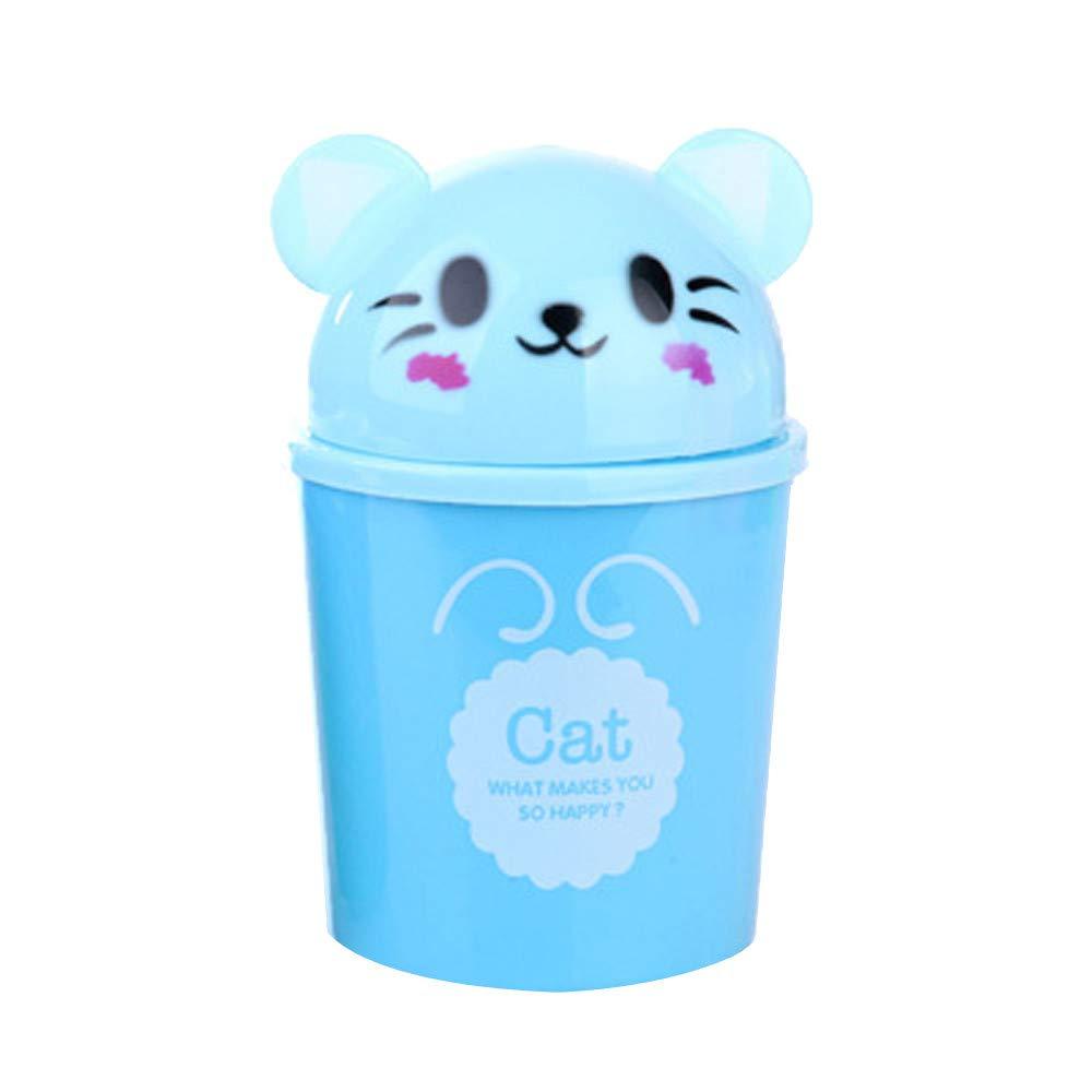 ミニデスクトップゴミ箱 ヴィンテージクリエイティブでキュートな動物リビングルーム用ゴミ箱 S ブルー B07J6QTPT1 ブルー