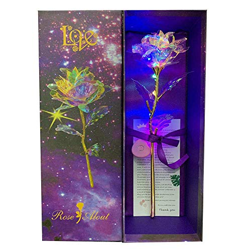 KIRIFLY Artificial Rose Gifts Fake Flowers Roses Presents for Women LED Light Plastic Cellophane Flower Birthday Anniversary Engagement Colorful ()
