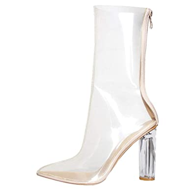 8c4e6430d73 Themost Womens Transparent Closed Pointy Toe Chunky Heels Designer Ankle  Boots Large Size (5.5)
