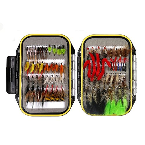 wifreo Fly Fishing Fly Kit Fly Fishing Lure Dry Wet Nymph Streamer Scud Beadhead Stonefly with Waterproof Fly Box (72 PCS Fly Kit + Waterproof Fly ()