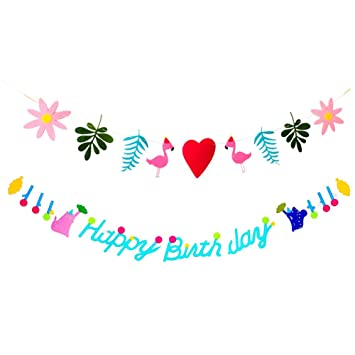 Amazon Com Springpear 2x 3 Meters Cute Flamingo Happy Birthday