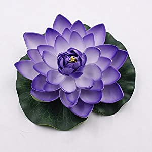 Meide Group USA 12 inch XLarge Floating Lotus Lily pad Foam Flowers for Ponds, Weddings, Pool, and Garden Decor (Set of 2) (Violet) 42