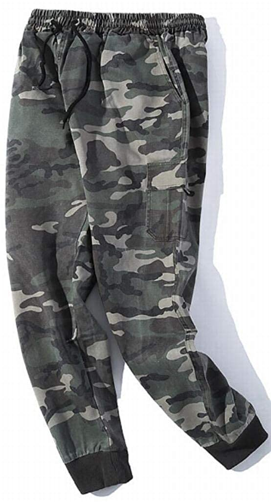 DFBB Mens Plus Size Active Jogger Pants Camo Print Elastic Waist Casual Pants