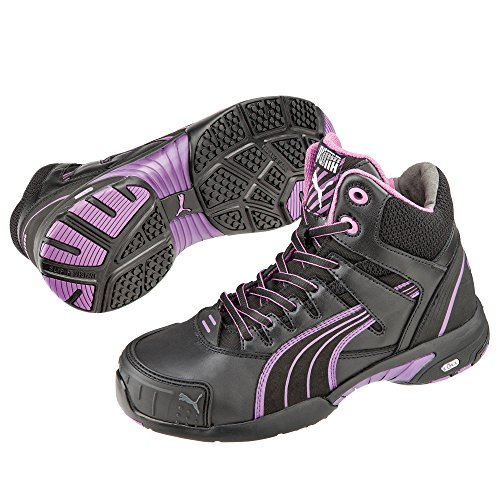 Safety Pink Safety MID STEPPER Ladies Purple Black Leather Black Puma Boots fxvdwf