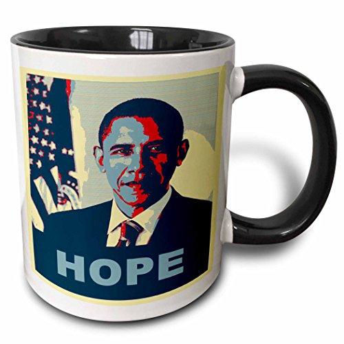 3dRose (mug_130694_4) President Barack Obama in Hope Pop Art - Two Tone Black Mug, (Barack Obama Mug)