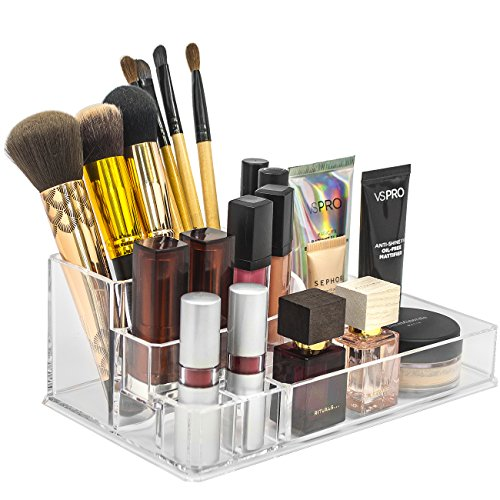 Sorbus Acrylic Cosmetics Makeup and Jewelry Storage Case Display Top–Glamorous, Space- Saving, Stylish Acrylic Bathroom Organizer (Top Style 2)