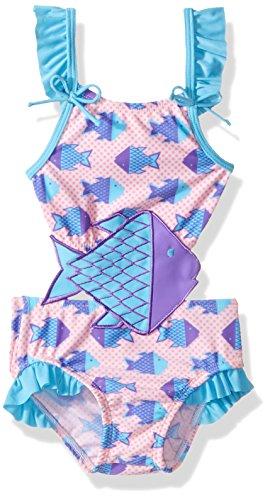 (Sol Swim Girls' Solo Swim-Infant-Origami Fish One Piece Swimsuit, Multi, 12)