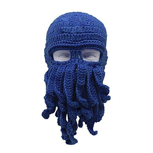 de Filfeel de Suave Cuatro Evitar cálido Creativo Invierno Opcionales el frío Barba Punto Pulpo de Viento para Lana Sombrero Colores Sombrero Azul de rrq85