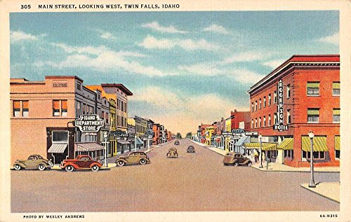Twin Falls Idaho Main Street Scene Historic Bldgs Antique Postcard K90581