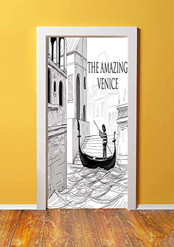 Venice 3D Door Sticker Wall Decals Mural Wallpaper,Canals of Venice Child Gondolier on Water Historical Amazing European City Sketch Decorative,DIY Art Home Decor Poster Decoration 30.3x78.6919,Black