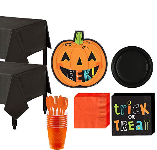 Party City Halloween Friends Tableware Supplies for 16 Guests, Include Adorable Paper Plates, Napkins, Cups, and More