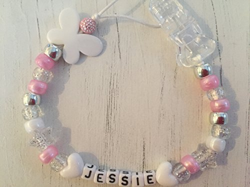 Pony Beads Pink Handmade from The U.K. White Teddies Soother Chain Pacifier Holder Baby Dummy Clip Glitter Unicorn