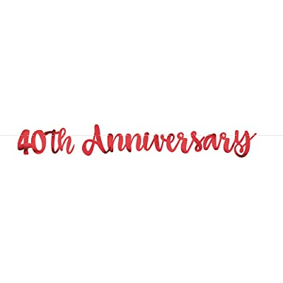 "Red""40th Anniversary"" Party Letter Banner, 1ct: Toys & Games"