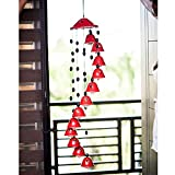 ExclusiveLane Melodious Sound Ceramic Wind Chimes With 12 Bells In Red -Wind Chimes Door Hanging Bells Garden DÃcor Wall Hanging