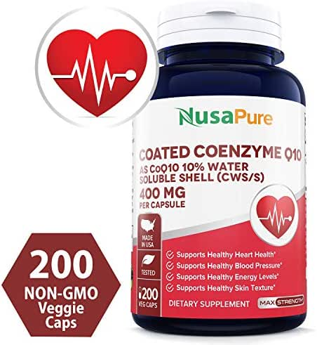 CoQ10 400mg 200 Veggie Caps (Non-GMO & Gluten Free) Coenzyme Q10 Supplement Pills, Antioxidant CO Q-10 Enzyme, Coq 10 for Healthy Blood Pressure & Heart