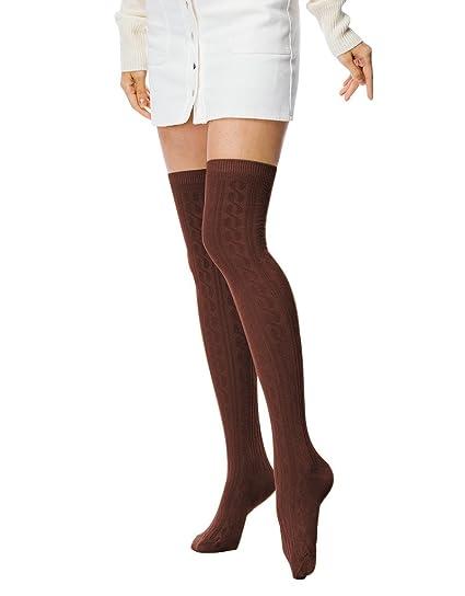 722a60729 Amazon.com  Fashion Extra Long Cotton Thigh High Socks light Coffee ...