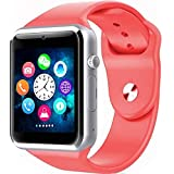 Bluetooth Reloj Inteligente con Cámara, Techfaith Reloj Inteligente para Android Teléfonos Inteligentes, A1 - Rosado