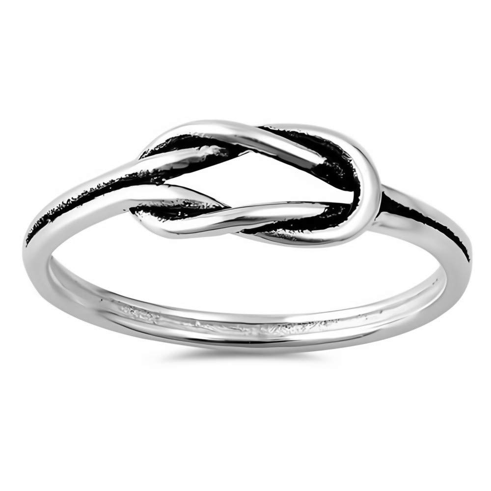 Cute Jewelry Gift for Women in Gift Box Knot Glitzs Jewels 925 Sterling Silver Ring