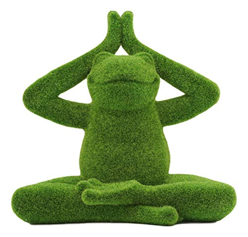 Ebros Whimsical Meditating Buddha Yoga Frog Garden Statue in Flocked Artificial Moss Finish Resin Sculpture Guest Greeter Home Decor Outdoors Patio Flower Bed Frogs Toads Zen Feng Shui Lotus Pose