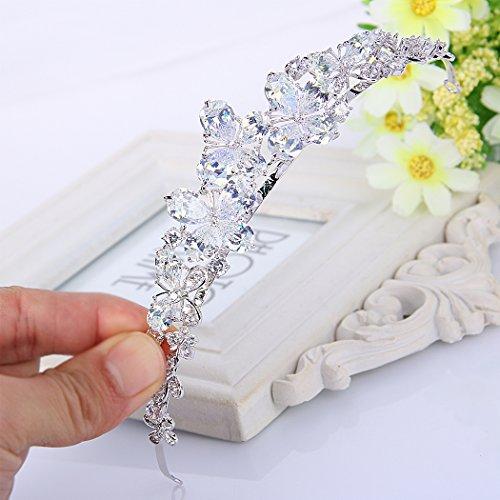 Ever Faith - Plaqué Argent Cubic Zirconia Papillons et Beaucoup de Fleurs Bandeau Clair N07564-1