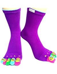 Women winter Long Toe socks Funky Solid color Smiling face printing sock-purple