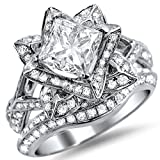 Smjewels 2.05Ct Lotus CZ Diamond Princess Cut Flower Engagement Ring Band Set In White Gold Fn