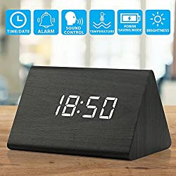 Oct17 Wooden Wood Clock, 2018 New Version LED Alarm Digital Desk Clock 3 Levels Adjustable Brightness, 3 Groups of Alarm Time, Displays Time Date Temperature - Black (White Light)