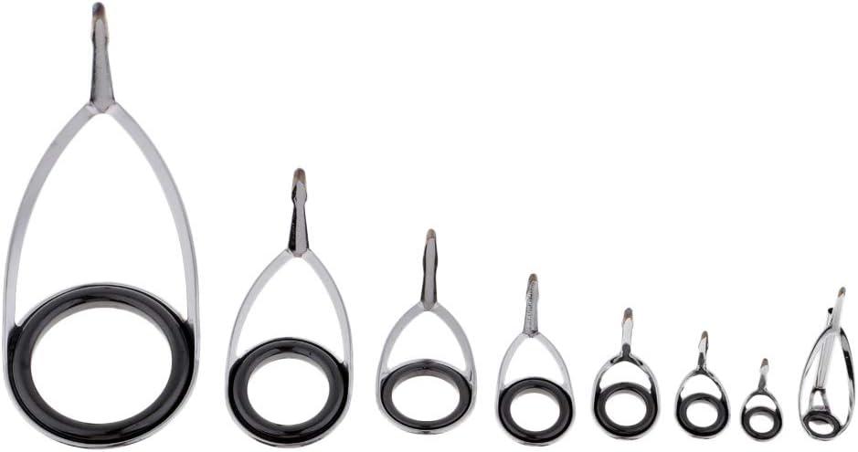 Stainless Steel Bait Casting Rod Guide Repair Kit Ceramic Eye Ring Tip Tops Rod