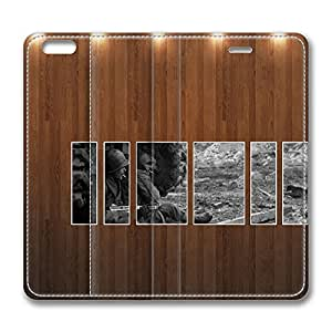 iPhone 6 Leather Case, Personalized Protective Flip Case Cover War Vintage Picture Wood Wall for New iPhone 6