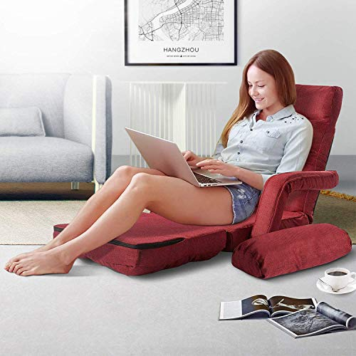 Blue/_1 Merax Folding Lazy Sofa Floor Chair Sofa Lounger Bed with Armrests and a Pillow