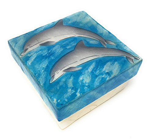 Kubla Craft Capiz Shell Pair of Dolphins Keepsake Box, 3 Inches Square