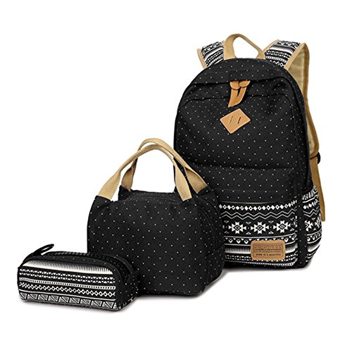 Case Set Lunch (HITOP Geometry Polka Dots Casual Canvas Backpack + Lunch Bags + Pen Case Bags Set (Black))