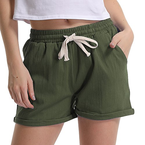 (Gooket Women's Elastic Waist Casual Comfy Cotton Linen Beach Shorts with Drawstring Army Green Tag M-US 2-4)