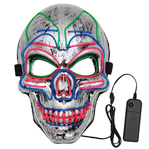VATOS Halloween LED Mask, Scary Light Up Mask with 3 Light Up Modes and Soft Sponge for Halloween Costume Parties Silver