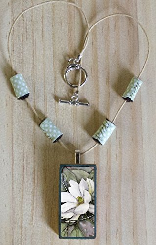 White Magnolia Necklace for Girls with Art Pendant and Fabric Beads, Flower Jewelry (Beaded Domino)