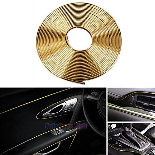 Car Interior Moulding Trim,3D DIY 5 Meters Electroplating Color Film Car Interior Exterior Decoration Moulding Trim Strip line by Auto Parts Club (gold)