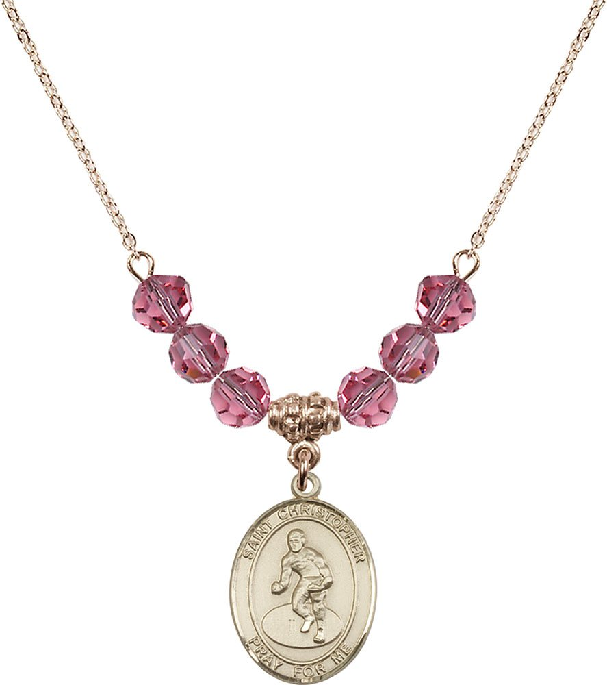 Gold Plated Necklace with 6mm Rose Birthstone Beads & Saint Christopher/Wrestling Charm.