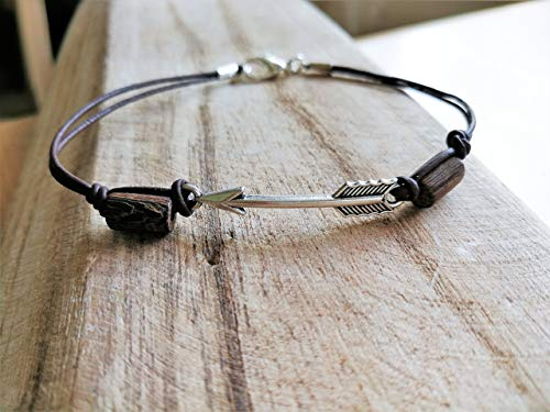 Arrow Anklet for Women, Natural Leather Ankle Bracelet with Wooden Beads