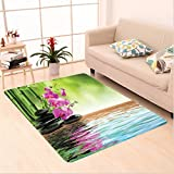 Nalahome Custom carpet Spa Decor Orchid Flower Stone Oriental Culture Spirituality Wellness Tropical Holiday area rugs for Living Dining Room Bedroom Hallway Office Carpet (6' X 9')