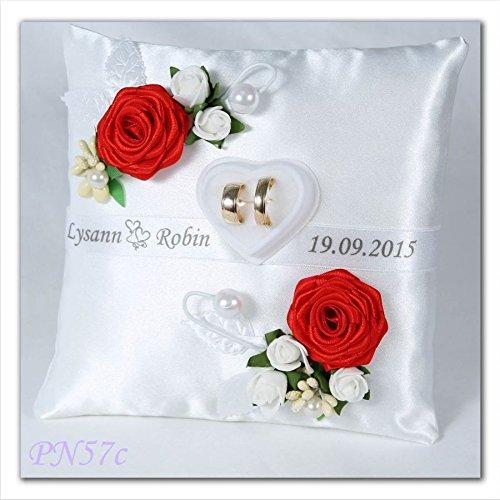 personalisierbar Hochzeit Polster Ring Kissen, mit Ringe Halter Box (PN57), Textil, rot, 19x19cm