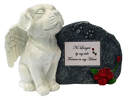 Imprints Plus No Longer by My Side White Angel Dog Memorial Statue with Tribute Plate and Keepsake Box for Ashes by (2031 wht-gray)