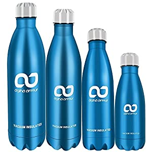 Alpha Armur 12 Oz (350ml) Double Wall Vacuum Insulated Stainless Steel Flask Water Bottle with Narrow Mouth, Blue