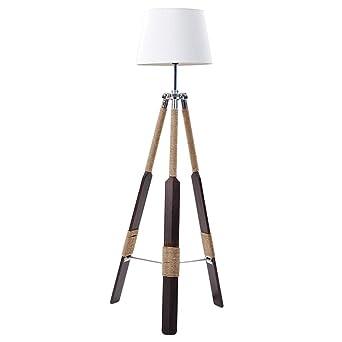 Home Design Massivholz Stativ LED Stehlampe, Vintage Nautische Schlafzimmer  Lesen Wohnzimmer Metall Tuch Kunst Stehleuchte